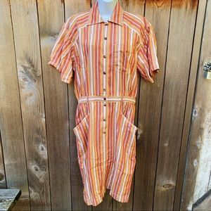 Liz Claiborne Orange Striped Button Up Dress